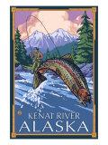 Fly Fishing Scene  Kenai River  Alaska
