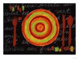 Striped Plate- Orange Giclée par Susan Gillette