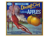 Diving Girl Brand Apple Label  Watsonville  California