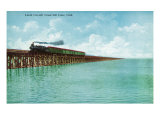 Utah  View of the Great Salt Lake Lucin Cut-off  Train on RR Bridge