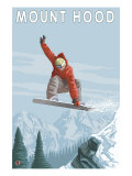 Mount Hood  Oregon  Snowboarder Jumping