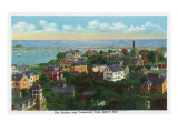 Marblehead  MA  Abbott Hall Aerial View of Harbor  Causeway  and Town