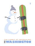 The Summit at Snoqualmie  WA  Snowman with Snowboard