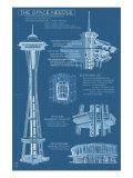 Seattle  WA  Space Needle Technical Drawing