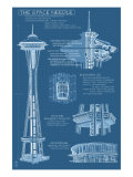 Seattle  WA  Space Needle Technical Drawing