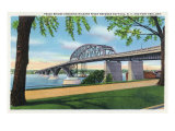 Buffalo  NY  Peace Bridge Crossing Niagara River View  Fort Erie  Ontario in Distance