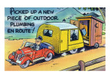 Man Towing a Trailer and an Outhouse  Outdoor Plumbing