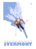 Stratton Mountain  Vermont  Stylized Skier