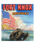 Fort Knox  Kentucky  Large Letters  View of a Tank and the US Flag