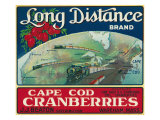 Wareham  Massachusetts  Long Distance Brand Cape Cod Cranberry Label