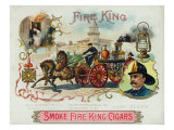 Fire King Brand Cigar Box Label  Firemen with Horse Engine