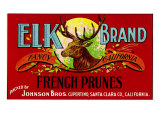 Cupertino  California  Elk Brand French Prunes Label