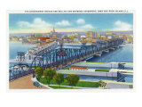 Davenport  Iowa  Aerial View of Bridge and Roller Dam between City and Rock Island  IL
