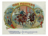 Firefighters Brand Cigar Inner Box Label  Fireman with Horse-Drawn Engine