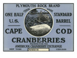 Cape Cod  Massachusetts  Plymouth Rock Brand Cranberry Label