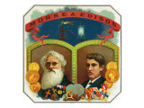Morse and Edison Brand Cigar Box Label  Samuel FB Morse and Thomas Edison