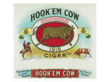 Hook'em Cow Brand Cigar Box Label
