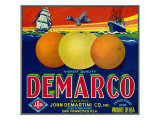San Francisco  California  Demarco Brand Citrus Label