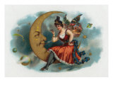 Picant Brand Cigar Box Label  Fairy Woman Smoking on the Moon