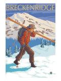 Breckenridge  Colorado  Skier Carrying Skis