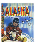 Alaska  View of a Native Child Holding a Puppy  Totem Pole and Penguins