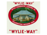 Wylie-Way Brand Cigar Box Label  Wylie Permanent Camping Co in Yellowstone National Park