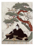 Actor Sugawara Sitting on a Platform Tree  Japanese Wood-Cut Print