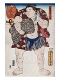 The Sumo Wrestler Ichiriki of the East Side  Japanese Wood-Cut Print