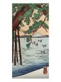 Pine Tree on the Shore  Japanese Wood-Cut Print