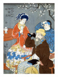 American  French  and Chinese Persons  Japanese Wood-Cut Print