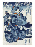 The Courtesan Usugumo of Tamaya  Japanese Wood-Cut Print