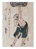 Man Lifting a Sake Barrel  Japanese Wood-Cut Print