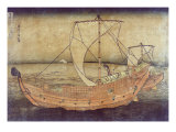 Sailing off of Kazusa  Japanese Wood-Cut Print
