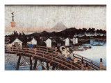 Rain over Nihonbashi  Japanese Wood-Cut Print