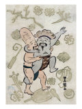 Sumo Match between Daikoku and Fukurokuju  Japanese Wood-Cut Print