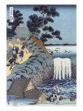 Aoi Gaok Waterfall  Japanese Wood-Cut Print