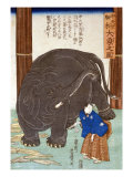 Big Imported Elephant from India  Japanese Wood-Cut Print