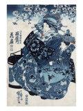 The Courtesan Hanao of Ogiya  Japanese Wood-Cut Print
