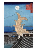 Carved Fish on a Roof and View of Bishu Nagoya  Japanese Wood-Cut Print