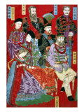 Portrait of World Sovereigns  Japanese Wood-Cut Print