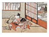 Women at a Table with a View of the Landscape  Japanese Wood-Cut Print