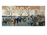 Cherry Blossoms in Full Bloom along Sumida River  Japanese Wood-Cut Print