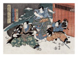 Three Warriors  Japanese Wood-Cut Print