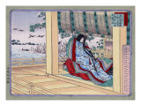 Woman Adjusting the Blinds  Japanese Wood-Cut Print
