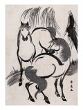 Horses under a Willow Tree  Japanese Wood-Cut Print