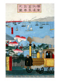 First Steam Train Leaving Yokohama  Japanese Wood-Cut Print