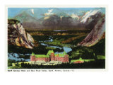 Banff  Alberta  Canada  Panoramic View of Banff Springs Hotel and Bow River Valley