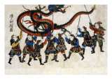 Chinese Dragon Dance  Japanese Wood-Cut Print