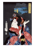 The Young Maiden Oshichi  Japanese Wood-Cut Print