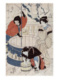 Women Getting Water at the Well  Japanese Wood-Cut Print